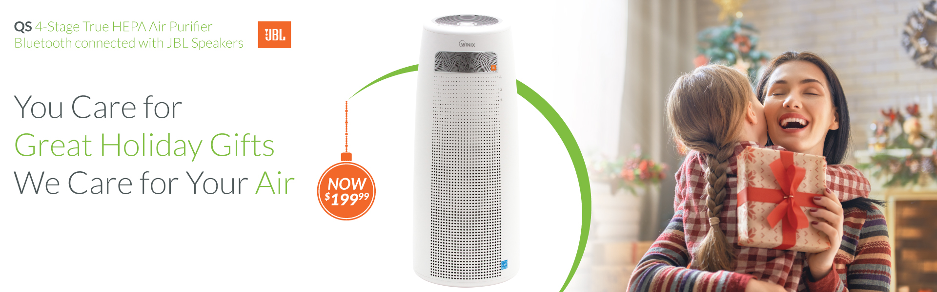 December Winix QS Holiday Sale. 4 Stage Air Purifier with Bluetooth Speakers.