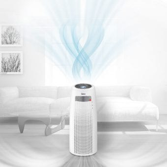 A visual of air flowing through the room to show how the QS Air Purifier provides 360 degree clean